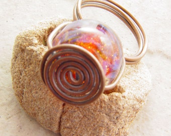 Copper and Amber Glass Ring, size 8freeform
