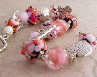 Handmade Bracelet, Bead Soup and Butterflies in Pinks and Orange