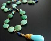 Chrysoprase Coins Peruvian Blue Opal Kyanite Necklace - Molly Necklace