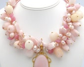 Reserved Layaway for Elizabeth - Peruvian Opal Necklace -  Pink Parfait