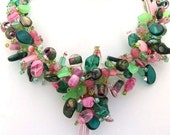 Pink Green Preppy Statement Necklace Vintage Czech Beads