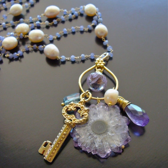 RESERVED LAYAWAY FOR DARIA P - Tanzanite, Pearls, Amethyst Stalactite, Prasiolite and Pink Amethyst Necklace - Charmed, Im Sure