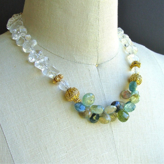 Blue Tourmaline and Rock Quartz Necklace - Clearly, A Case of the Blues