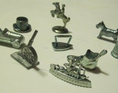 Monopoly Game Pieces  Altered Art, Mixed Media, Steampunk  9 pieces