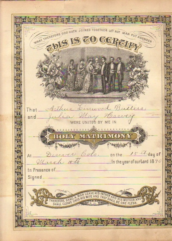 Vintage 1890 Marriage Certificate Signed and by JazziesJunque