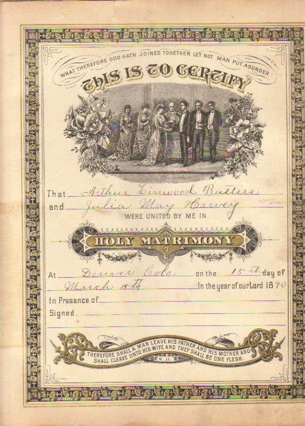 Vintage 1890 Marriage Certificate Signed and Dated