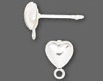 Silver Plate HEART POST earrings and back (10) 5 pair love