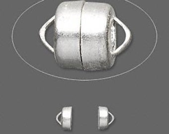 SILVER Plated MAGNETIC CLASP 6x5MM (10)