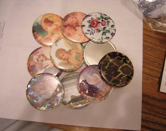 Pocket Mirrors set of 10 FREE SHIPPING 2.25 inch wholesale, group sales, promotional, assorted lot 10 pieces