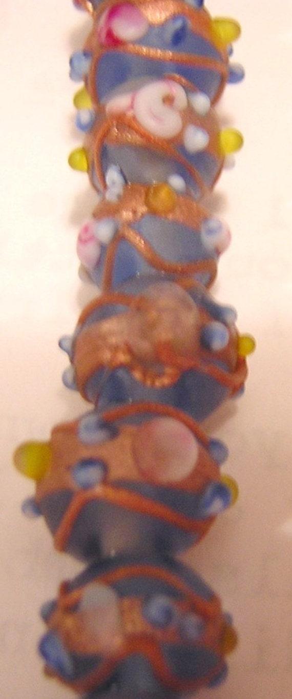 Blue Matte WEDDING CAKE beads 12 MM beads (10)