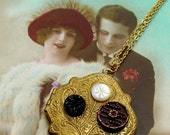 SALE, 1800's BUTTON locket gold necklace-Antique Victorian buttons on photo locket, OOAK  jewellery.