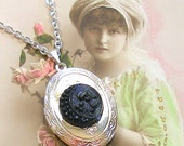 SALE Antique BUTTON locket necklace, Victorian crescent moon & clover on silver. Price Reduced.