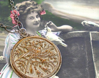Antique Bird BUTTON necklace - Victorian bird & flowers on sterling silver, OOAK one of a kind jewellery.