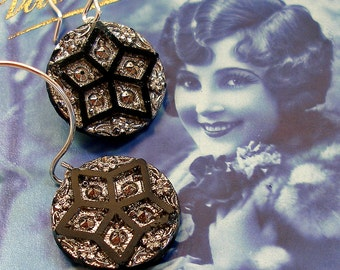 Star Brite BUTTON earrings, Antique Victorian glass on sterling silver. Antique Button Jewelry.