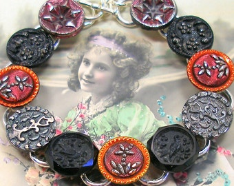 "Birds, Antique BUTTON  bracelet, Victorian glass with flowers in red & black. 7.5"" one-of-a-kind jewellery."