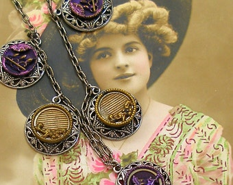 Antique BUTTONs necklace, Edwardian purple flowers on silver chain. Antique button jewelry, jewellery.