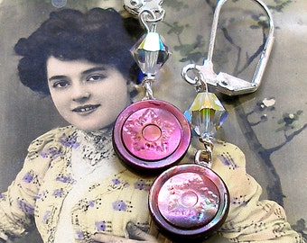 Antique BUTTON earrings, Victorian mother-of-pearl with stars. Antique button jewelry, jewellery.