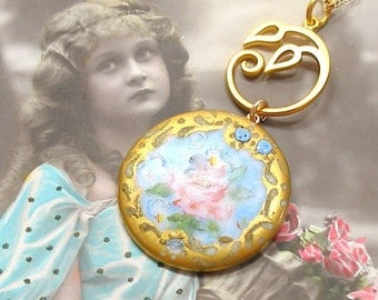 Calla & Rose Antique BUTTON necklace, Edwardian flowers on gold chain, one of a kind jewellery.