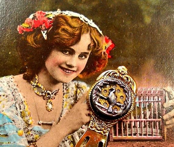 Peacock, Victorian BUTTON  bookmark, Antique bird on gold.
