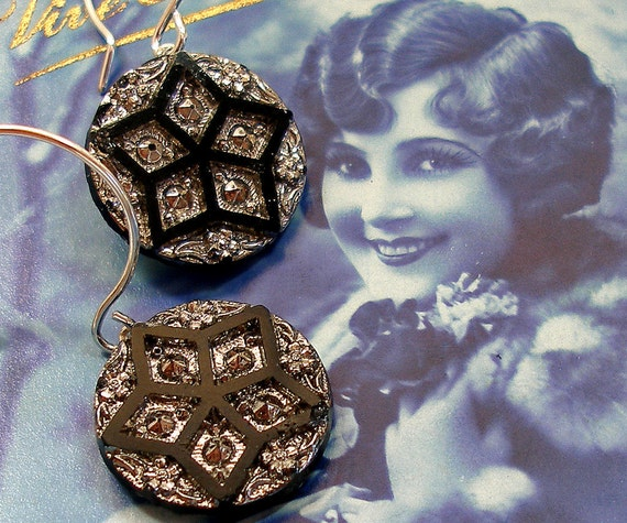 Star Brite BUTTON earrings, Antique Victorian glass on sterling silver.