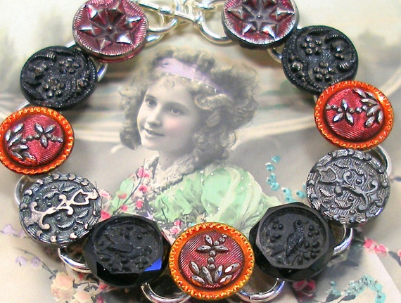 "SALE Birds, Antique BUTTON  bracelet, Victorian glass with flowers in red & black. 7.5"" one-of-a-kind jewellery. Price reduced."