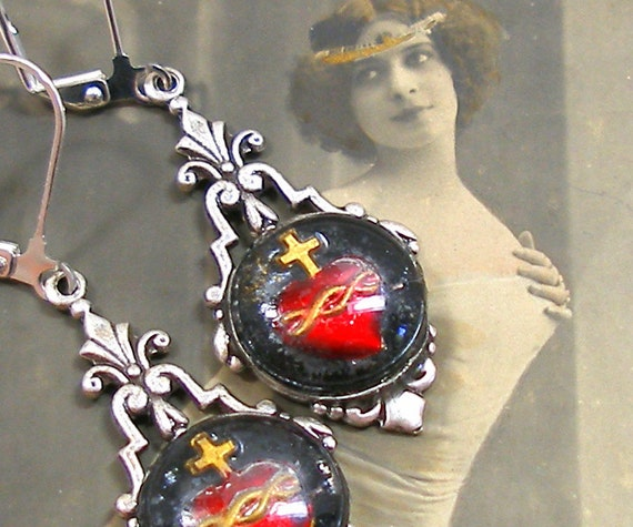 20s Heart BUTTON earrings, Domed glass on silver deco style drops.