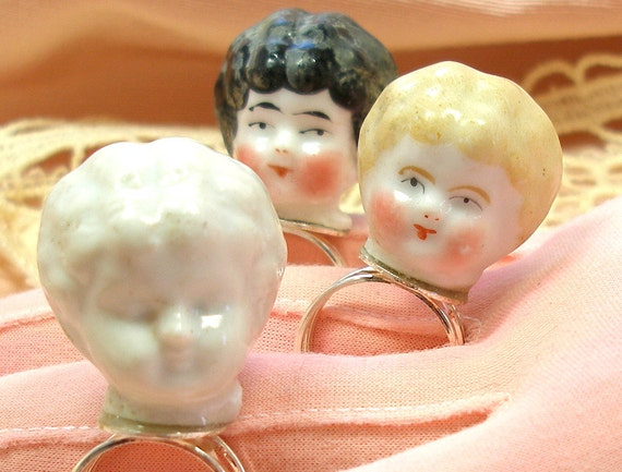 Frozen Charlotte DOLL sterling ring, 1800's antique porcelain head on adjustable silver.