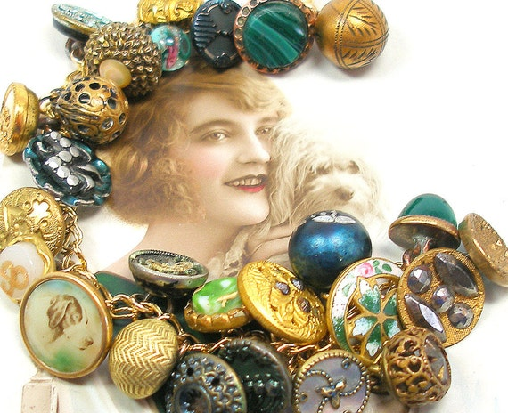 """RESERVED 1800s dog BUTTON charm bracelet, Antique Victorian flower with green & gold buttons, 8.5"""" jewelry. Reserved for CVickers."""