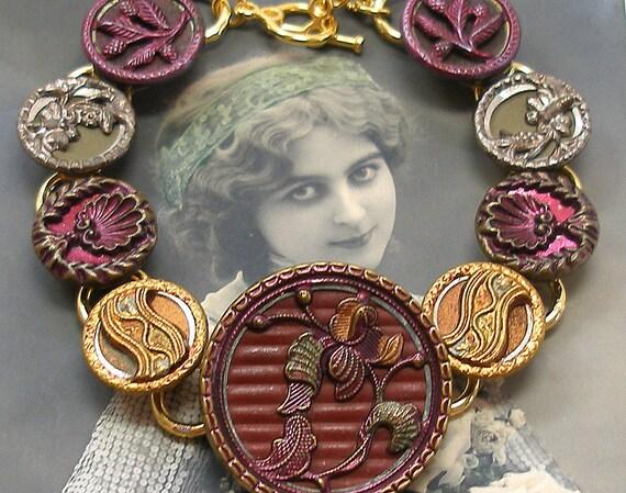 Antique BUTTON gold bracelet, Art Nouveau orchid in plum.