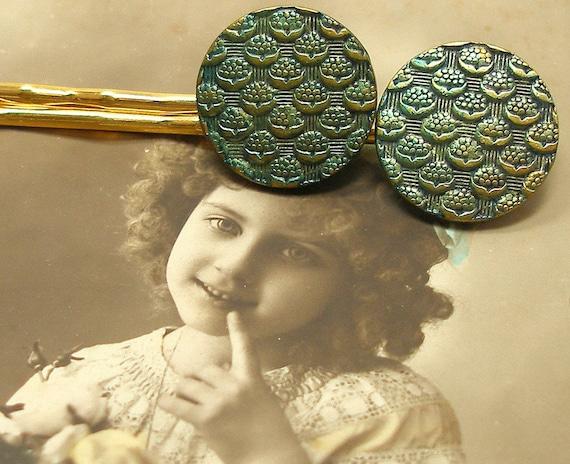 Antique BUTTON hair pins, Parisian flowers on gold bobby pins, hair grips.