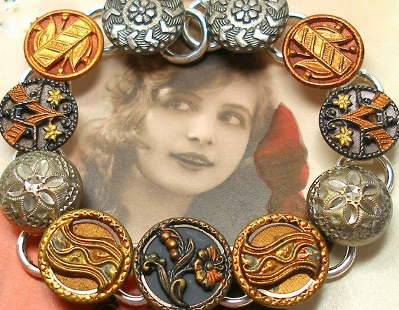 Autumn, Antique BUTTON bracelet, Victorian flowers on silver, OOAK one of a kind jewellery.