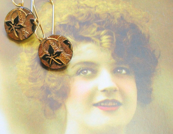 Ivy Antique BUTTON earrings, Victorian glass on GOLD with lace leaf design. Antique button jewellery.
