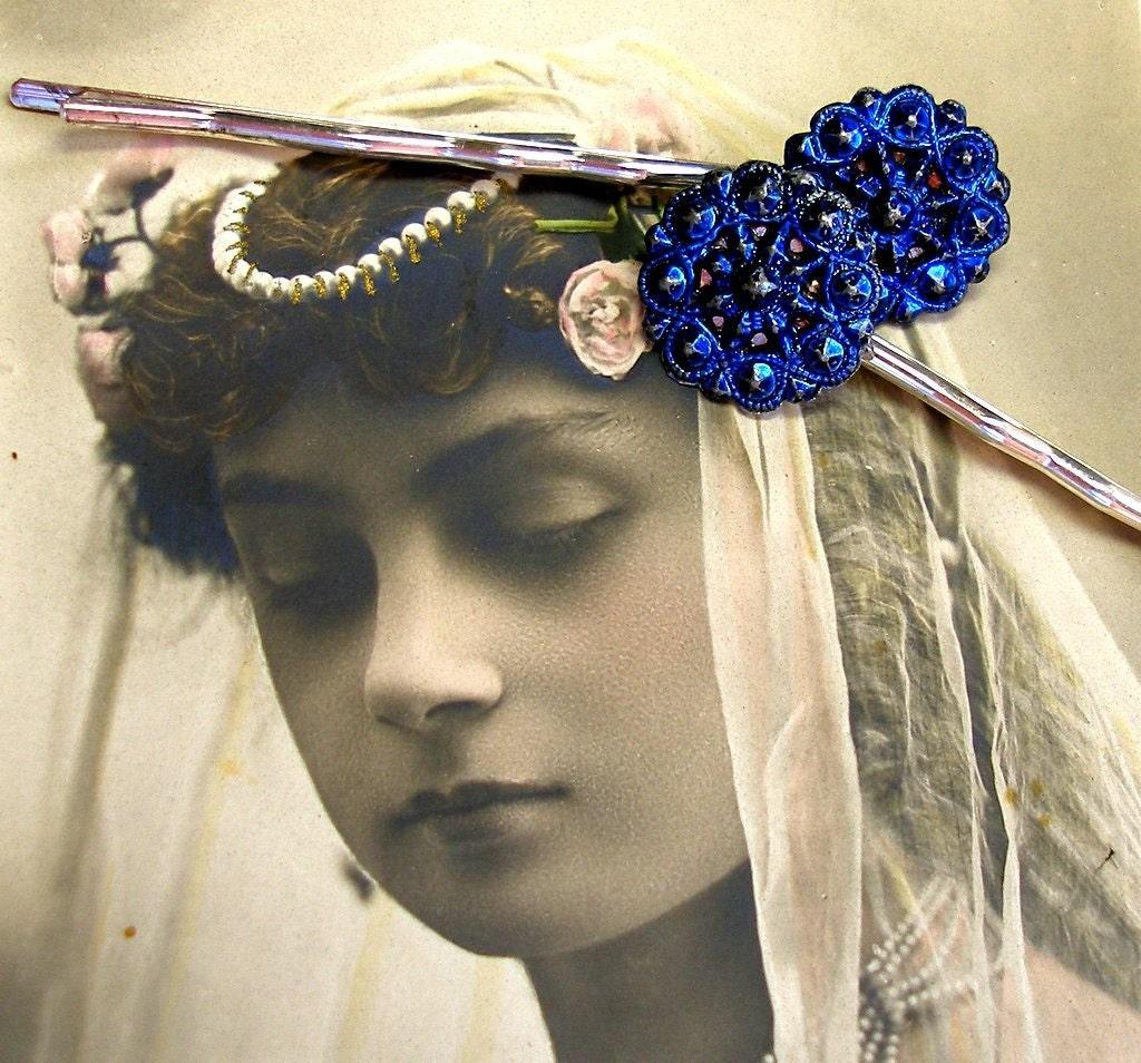 Lace star Victorian BUTTON hair pins 1800's antique