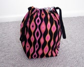 HOLIDAY SALE - Retro Stripes Drawstring Knitting Project Bag