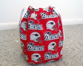 HOLIDAY SALE - New England Patriots Drawstring Knitting Project Bag