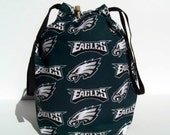 HOLIDAY SALE - Philadelphia Eagles Drawstring Knitting Project Bag