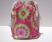 MOVING SALE - Pink Tie-Dye Drawstring Knitting Project Bag