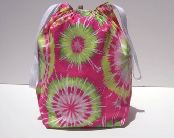 HOLIDAY SALE - Pink Tie-Dye Drawstring Knitting Project Bag