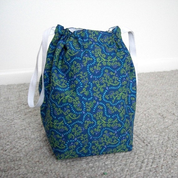 SALE - Periwinkle Blue Drawstring Knitting Project Bag