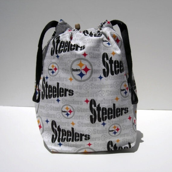 SPRING SALE - Pittsburgh Steelers Drawstring Knitting Project Bag