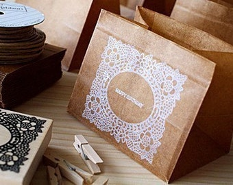 10pce - Waxed paper bags - Square bag type - brown color