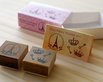 NEW - Matchbox Style Stamp Set - Crown Key and The Eiffel Tower