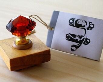 Antique crystal stamp - ANTIQUE KEY