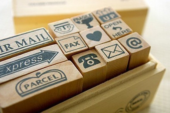 Wooden boxed Mail Rubber Stamps