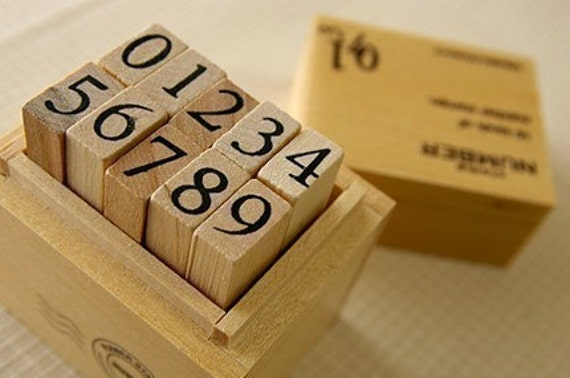 Wooden boxed number Rubber Stamps