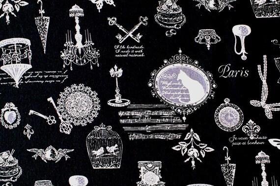 Antique Voyage - Japanese fabric - Black