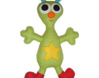 Green Alien Felt Doll - Arni