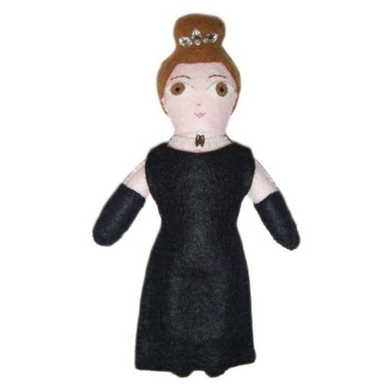 Felt Audrey Hepburn Doll - Made to Order