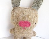 Mocha Brown Rabbit - Recycled Wool Plush Toy