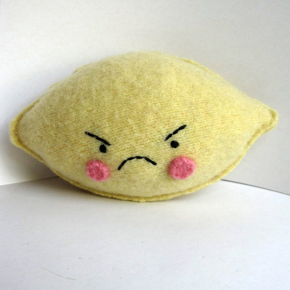 Angry Lemon Foo - Recycled Cashmere Plush Toy